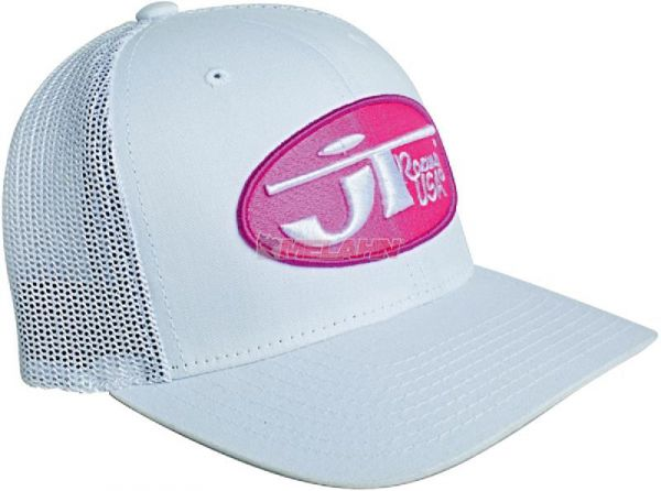 JT-RACING Trucker Cap: Oval, weiß/pink