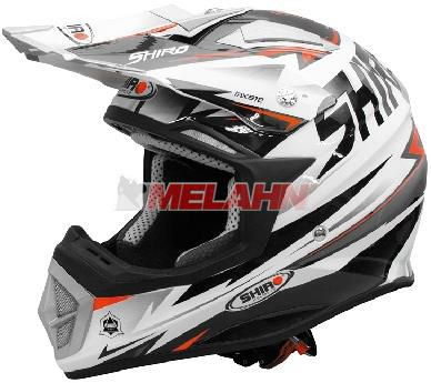 SHIRO Helm: MX-912 Thunder, , weiß/rot/schwarz