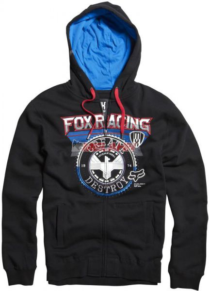 FOX Zip-Hoody: Infinite Speed, schwarz