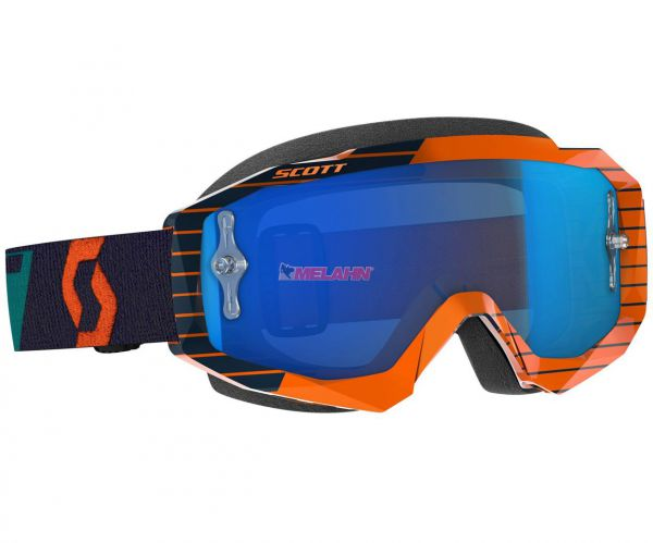 SCOTT Hustle MX Goggle Motocross MTB MX Cross Enduro Brille, orange/blau, blau verspiegelt