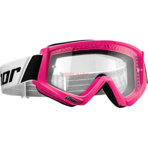 THOR Combat Solid Goggle Motocross MTB MX Enduro Cross Brille, klares Glas, neon-pink