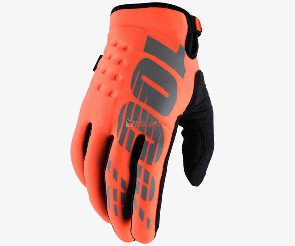 100% Kids-Handschuh: Brisker, Neopren, orange