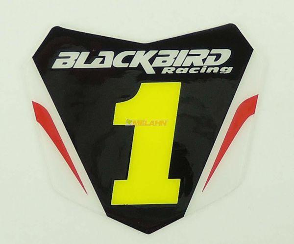 BLACKBIRD Aufkleber Starttafel 6x5,5cm, schwarz/rot/neon-gelb