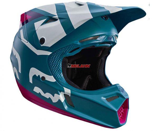 FOX Helm: V3 Creo, blau/pink