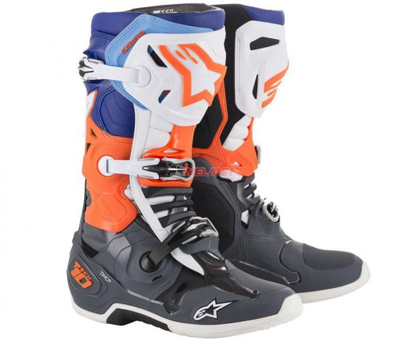 ALPINESTARS Stiefel: Tech 10, grau/orange/blau
