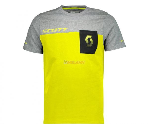 SCOTT T-Shirt: Factory Team, grau/gelb