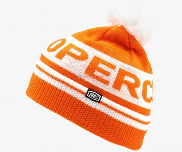 100% Beanie: Varsity, orange/weiß