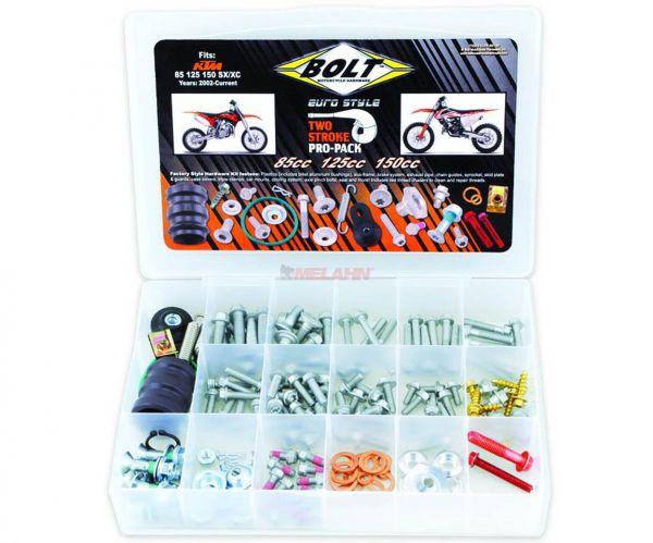 BOLT Schraubenset Pro Pack inklusive Auspuffteile KTM 2-Takt 85-150 SX/EXC 98-, 180-teilig