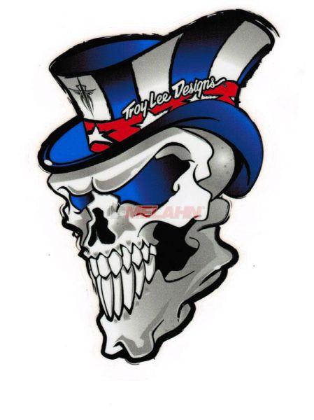 TROY LEE DESIGNS Aufkleber: Skull blau/silber, 14x10cm