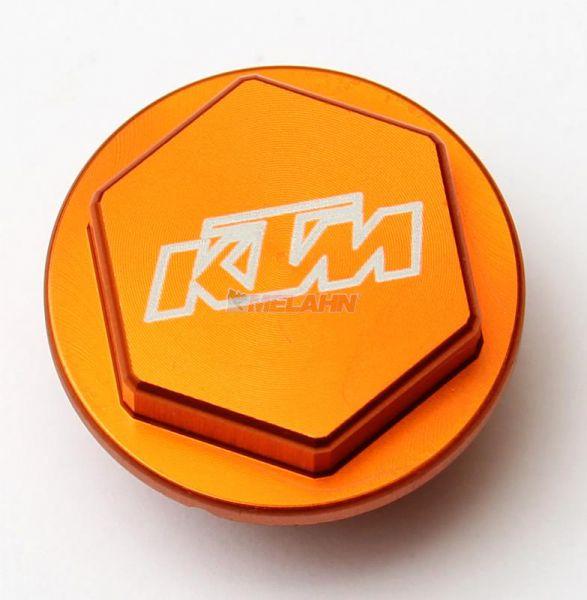 KTM SXS Aluminium-Deckel Fußbremszylinder, orange