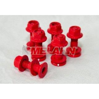 MT Kettenradschrauben mit Mutter (6 Stück), farbig, rot