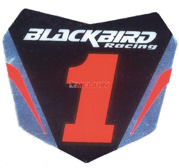 BLACKBIRD Aufkleber Starttafel 6x5,5cm, schwarz/rot/chrom