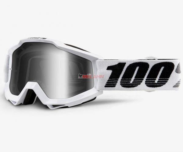 100% Accuri Galatica Goggle Motocross MTB MX Enduro Cross Brille, verspiegelt, weiß/silber