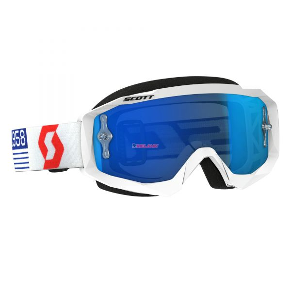 SCOTT Brille: Hustle MX, weiß/rot, blau verspiegelt