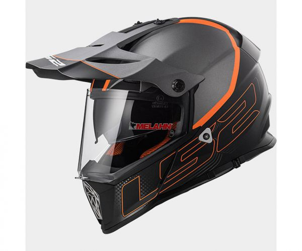 LS2 Helm: MX 436 Pioneer, Element, matt titan/orange/schwarz, Größe XXL