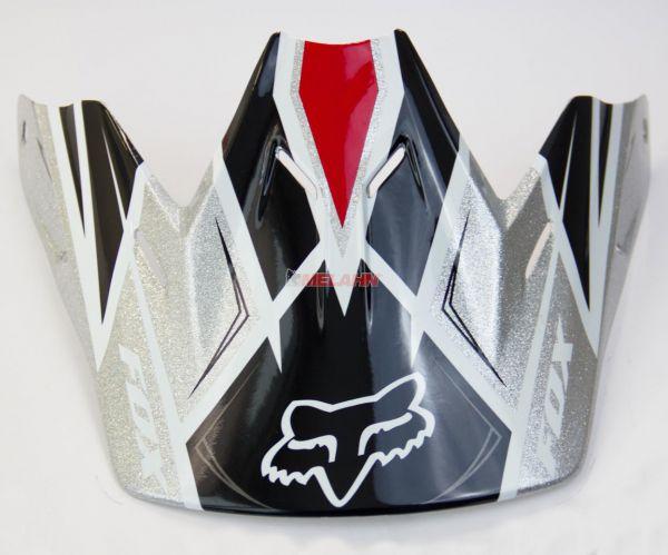 FOX Helmschirm: V3 Race 2013, schwarz/silber