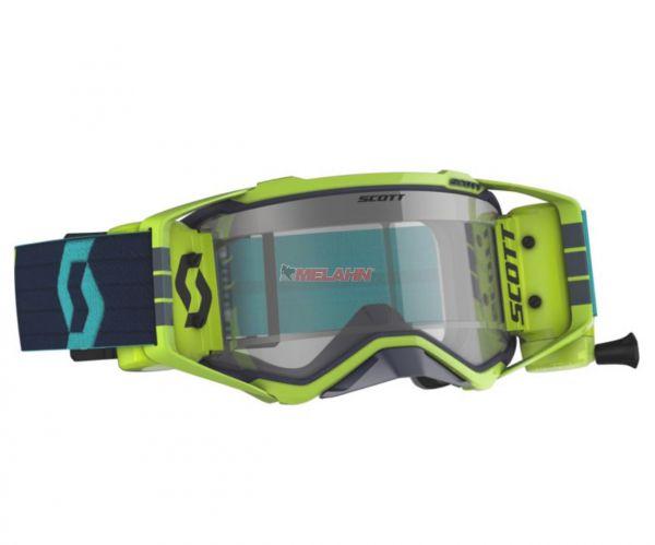 SCOTT Prospect WFS Goggle Motocross MTB MX Enduro Cross Brille blau-neongelb klares Glas