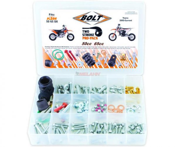BOLT Schraubenset Pro Pack inklusive Auspuffteile KTM 2-Takt 50/65 SX 02-, 180-teilig