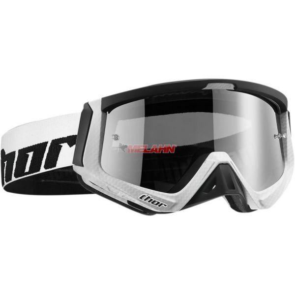 THOR Sniper Carbon Goggle Motocross MTB MX Enduro Cross Brille, klares Glas, weiß/schwarz