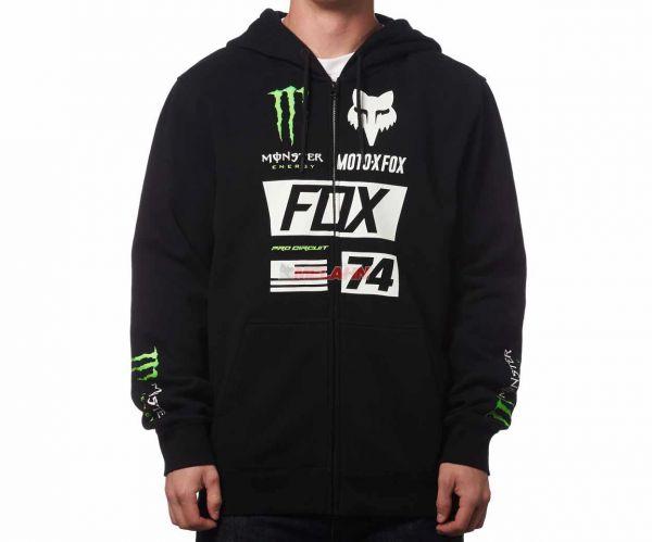 FOX Zip-Hoody: Monster Union Collection, schwarz