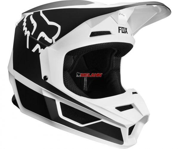 FOX YOUTH Helm: V1 Przm, schwarz/weiß