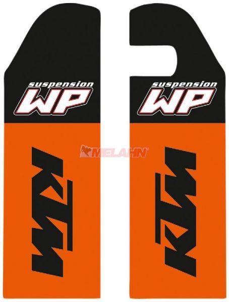 KTM Gabelschutz-Aufkleber (Paar), WP/KTM sw/orange, offen