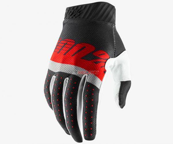 100% Handschuh: Ridefit , grau/rot/weiß