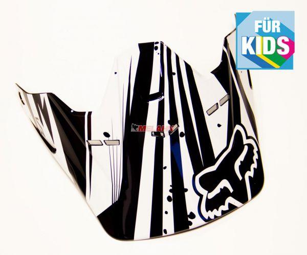 FOX Kids Helmschirm: Visor V1 Undertow, schwarz/weiß