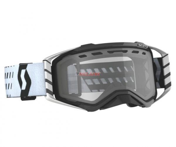 SCOTT Prospect MX Brille Motocross Enduro Goggles Crossbrille schwarz-weiß klares Glas