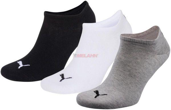 PUMA Socke (3er Pack): Unisex Invisible Sneakers, grau/weiß/schwarz