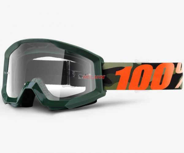 100% Strata Huntsitan Goggle Motocross MTB MX Enduro Cross Brille, klares Glas, camo/orange