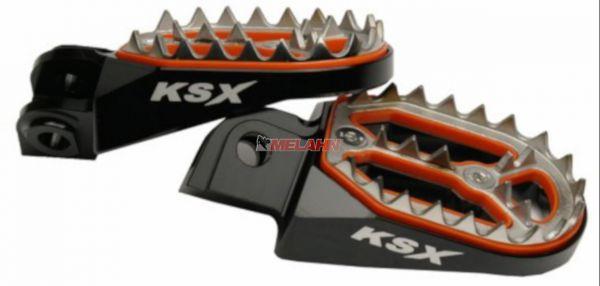 KSX Aluminium-Fußrasten (Paar): Factory Line, KTM 85 SX 04-17, schwarz