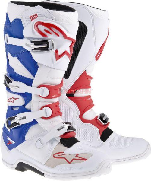 ALPINESTARS Stiefel: Tech 7, weiß/blau/rot