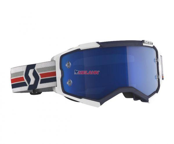 SCOTT Brille: Fury, weiß/blau/rot, electric blue verspiegelt