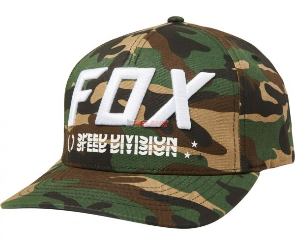 FOX Triple Thrat Flex-Fit Hat Cap Mütze Herren Männer Motocross Enduro MX Cross MTB DH, green camo