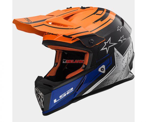 LS2 Helm: Fast MX 437, Core, orange/schwarz