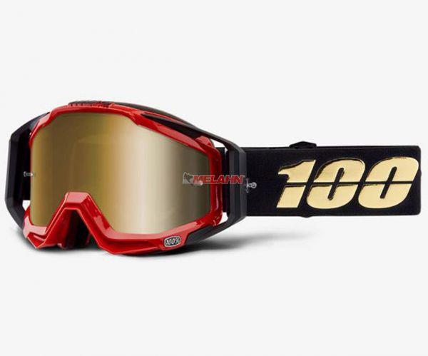 100% Racecraft Hot Rod Goggle Motocross MTB MX Enduro Cross Brille, schwarz/rot, verspiegelt