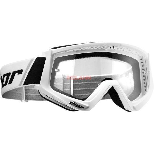 THOR Combat Solid Goggle Motocross MTB MX Enduro Cross Brille, klares Glas, weiß