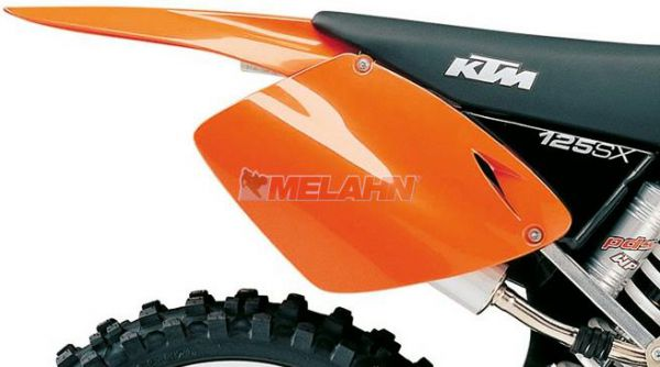 KTM Seitenteil links, SXEXC 125-525 98-03, orange