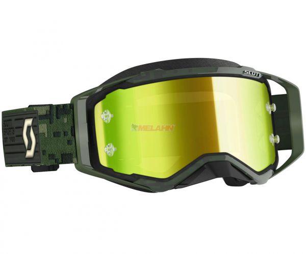 SCOTT Prospect Goggle Motocross MTB MX Enduro Cross Brille khaki green gelb chrome verspiegelt