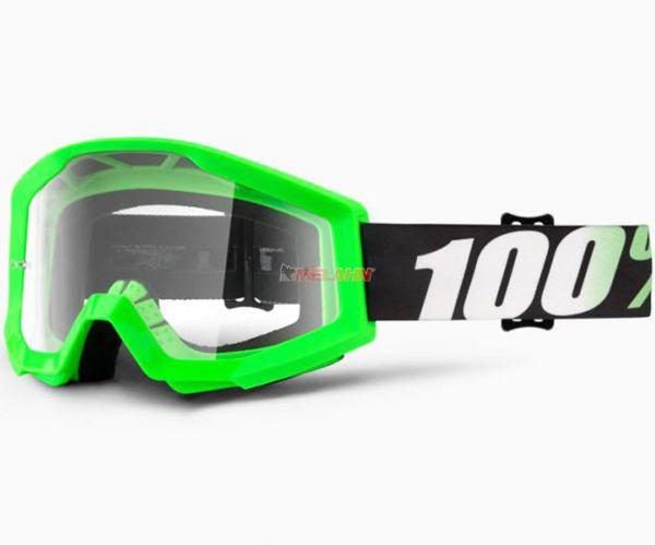 100% Strata Arkon Goggle Motocross MTB MX Enduro Cross Brille, klares Glas, schwarz/grün