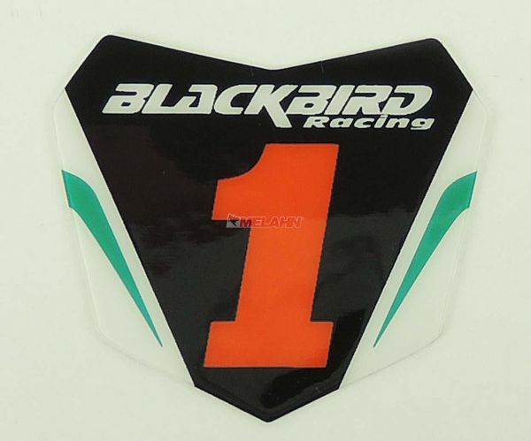 BLACKBIRD Aufkleber Starttafel 6x5,5cm, schwarz/grün
