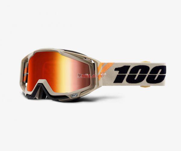 100% Brille: Racecraft Poliet beige/orange, rot verspiegelt