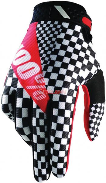 100% Handschuh: Ridefit, schwarz/weiß/rot