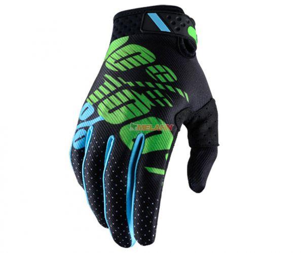 100% Handschuh: Ridefit, schwarz/grün/blau