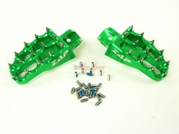 ZAP E-Peg Aluminium-Fußrasten (Paar), KX 65/80/85/100, 98-, grün
