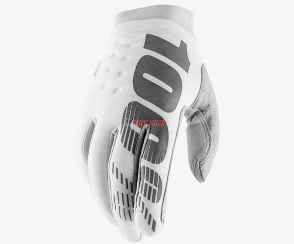 100% Handschuh: Brisker, Neopren, weiß/silber