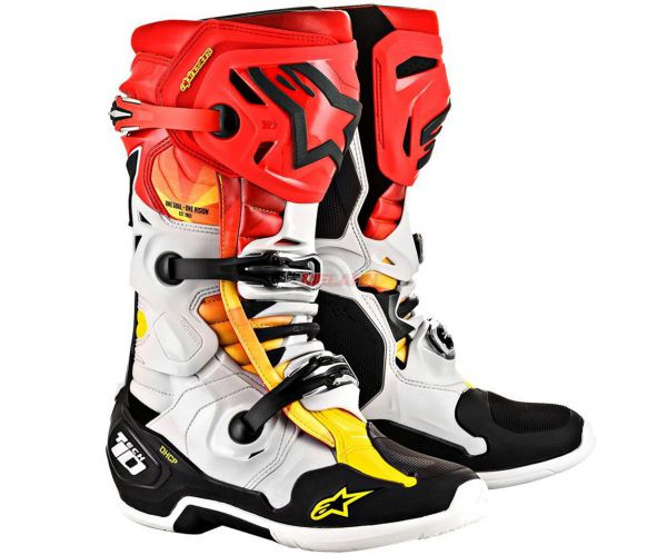 ALPINESTARS Stiefel: Tech 10, Limited Edition, weiß/rot/gelb