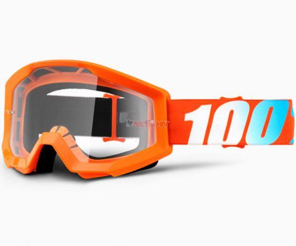 100% Strata Orange Goggle Motocross MTB MX Enduro Cross Brille, klares Glas, orange