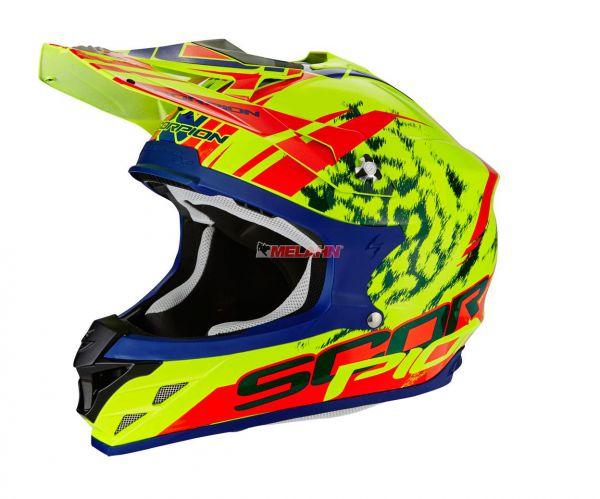 SCORPION Helm: VX-15 Evo Air Kistune, neon gelb/rot